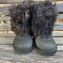 Black Ugg Boots Mongolian Hair Fur Booties Shorties Buckle Size 2 Womens Youth Photo