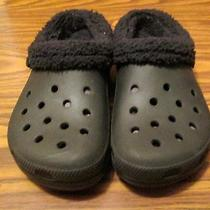 Black Unisex Crocs W/ Black Fleece Lining  Photo