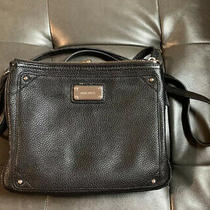 Black Vegan Leather Nine West Crossbody Purse Multi Compartment Zip and Clasp Photo