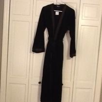 Black Velour Robe Women's Jones New York Satin Mother's Day Gift S M Long Nwt Photo