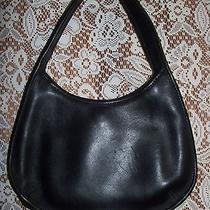 Black Vintage All Leather Mini Coach Handbag Purse Excellent Condition No Lining Photo
