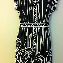 Black White Bcbg Max Azria Womens Ladies Short Sleeve Belt Dress Sz M Euc Nice Photo