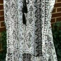 Black & White Lace Teddy With Tassels Sexy Lingerie With Black Pants Xl Hippie Photo