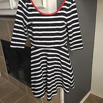 Black White Stripe Express Dress With Red Neckline Skater Skirted Size Small Photo