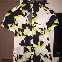 Black White Yellow Short Sleeve Button Down. Express Design Studio Sz Small Photo