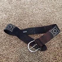 Black Wide Leather Belt With Studs Photo