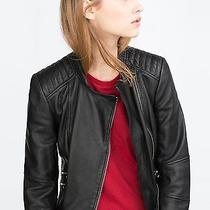 Black Zara Leather Biker Jacket W/ Zipper & Buckle Detail -Size M- New With Tags Photo