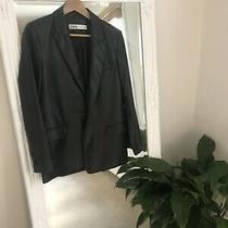 Black Zara Leather Blazer Size Xs Photo