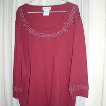 Blair Burgundy Red Top L Xl 1x Scoop Neck Turquoise Aqua Beads 3/4 Sleeve New Photo