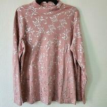 Blair Womens Floral Silver Print Turtleneck Pullover Sweater Sz Large Blush Pink Photo