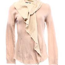 Blanc Noir New Women's Size Xl Full Zip Blush Ruffle Drape Sweater 120 Deal Photo