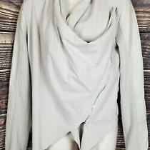 Blank Nyc Beige Moto Jacket Cardigan Faux Leather Mixed Media Medium Photo
