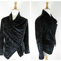 Blank Nyc Black Crushed Velvet Moto Zip Jacket Top Size L Cowl Long Sleeve Photo