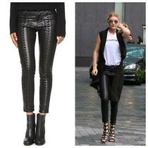 Blank Nyc Black Faux-Leather Wake Up Call Stitched-Front Lace-Up Skinny Pants 30 Photo