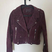 Blank Nyc Burgundy Morning Suede Moto Jacket Size Small Photo