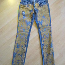 Blank Nyc Distressed Wash Gold Painted Embellished Jeans 29x31 Photo