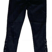 Blank Nyc Intro Womens Size 28 Lace Up Ankles Corset Skinny Jeans Mid Rise Black Photo