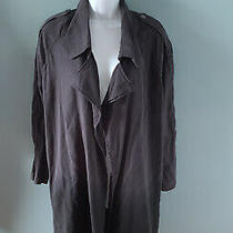 Blank Nyc Ombre Gray Dip Dye Trench Coat Jacket Blue Size Small New Photo