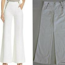 Blank Nyc Size 30 High Waist White Denim Wide Flare Leg Front Zippers Jeans Photo