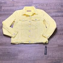 Blank Nyc Size Small Light Yellow Distressed Frayed Denim Jacket Nwt Photo
