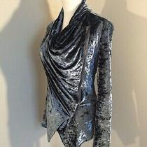 Blank Nyc Small S Crushed Velvet Moto Blue Cardigan Drape Asymmetric Zip Jacket Photo