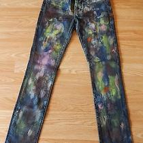 Blank Nyc Straight Leg Splatter Painted Jeans Size 25 Photo