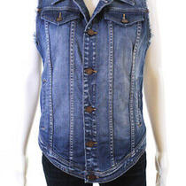 Blank Nyc Womens Cotton Denim Jean Vest Blue Size S Photo