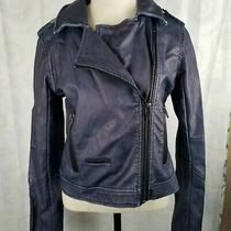 Blanknyc Faux Leather Blue/purple Moto Jacket W/pockets & Zippers Size Small Euc Photo