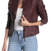 Blanknyc Faux Leather Fitted Moto Jacket in Oxblood Sz Small Photo