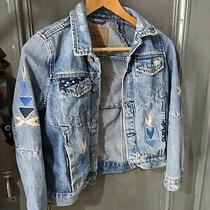 Blanknyc Girls Floral Embroidered Studded Jean Denim Jacket Size Large L Pre Own Photo