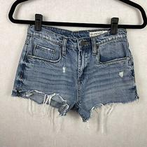Blanknyc Pinup High Rise Cutoff Jean Shorts Distressed Size 25 Blue Denim Photo