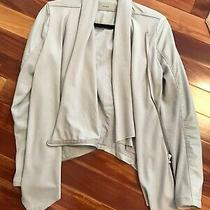 Blanknyc Woman's Gray Open Jacket/cardigan W/ Partial Faux Leather  Size S - Euc Photo