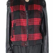 Blanknyc Women's Jacket Black Size Large L Faux Leather Plaid Bomber 128 862 Photo