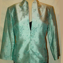 Blazer Jacket Jessica Howard Aqua-Green Sequins Jacquard New 8 Nwt Photo