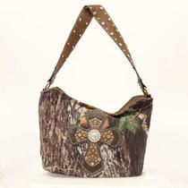 Blazin Roxx Mossy Oak Camo Cross Leather Mediumtote Hobo Shoulder Purse Photo