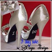 Bling Crystal Swarovski  Womenshigh Heels Wedding Party Bridal Shoes Photo