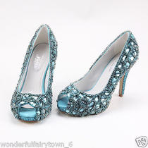 Bling Swarovski Crystal Wedding Shoes Open Teos Shinning Bridal Shoes Custom Photo