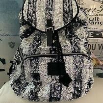 Bling Victoria Secret Pink Black Stripe Travel Sequin Carryon Book Bag Backpack Photo