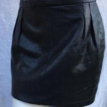 Blk Dnm Black Leather Mini Skirt Size M as New Photo