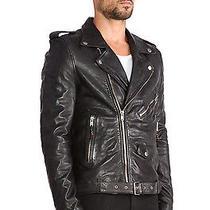 Blk Dnm Black Leather Moto Motorcycle Jacket 5 Size Medium Photo