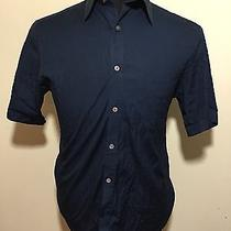 Blk Dnm Navy Shirt - Med - Shirt 21 - Cotton - Massive Mother of Pearl Buttons Photo
