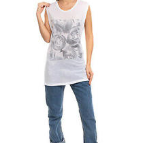 Blk Dnm T-Shirt Top Size S Floral Printed Front Sleeveless Round Neck Longline Photo