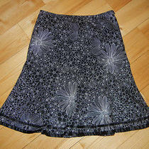 Blk White Floral Tulip Flair Knee Length Satin Trimmed Trixie  Lulu Skirt 2 4 S Photo