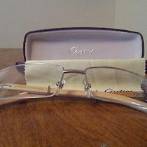 Blonde Wood  With White Gold Finish Cartier Eyeglasses. Photo
