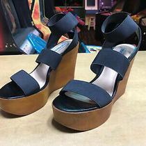 Blondie Wood Wedge Black Strap Steve Madden 7.5 Sandals Photo