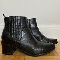 Blondo Elvina Waterproof Leather Ankle Boots Women's Size 9.5m Black Croc Photo