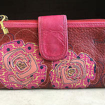 Blood Red Leather With Pink Roses Fun Lining & Brass Key - Wallet by Fossil Photo