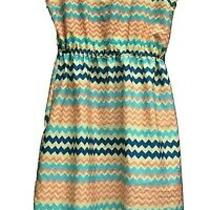 Bloom Blue Taupe Red Dress Size Small Chevron Asymmetrical Scoop Neck Sleeveless Photo