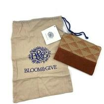 Bloom & Give Leather Jacquard Fabric Zippered Pouch Clutch Travel Bag Dustbag Photo