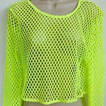 Bloom Pop 3 Piece Set Neon Yellow Crop Top Shorts Pants Size Large Xl Photo